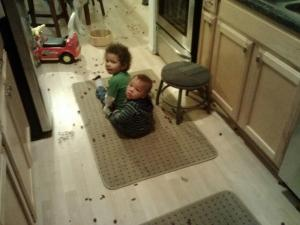 smashing grapes all over the floor